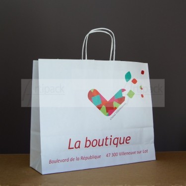 sac en papier kraft avec marque serigraphié