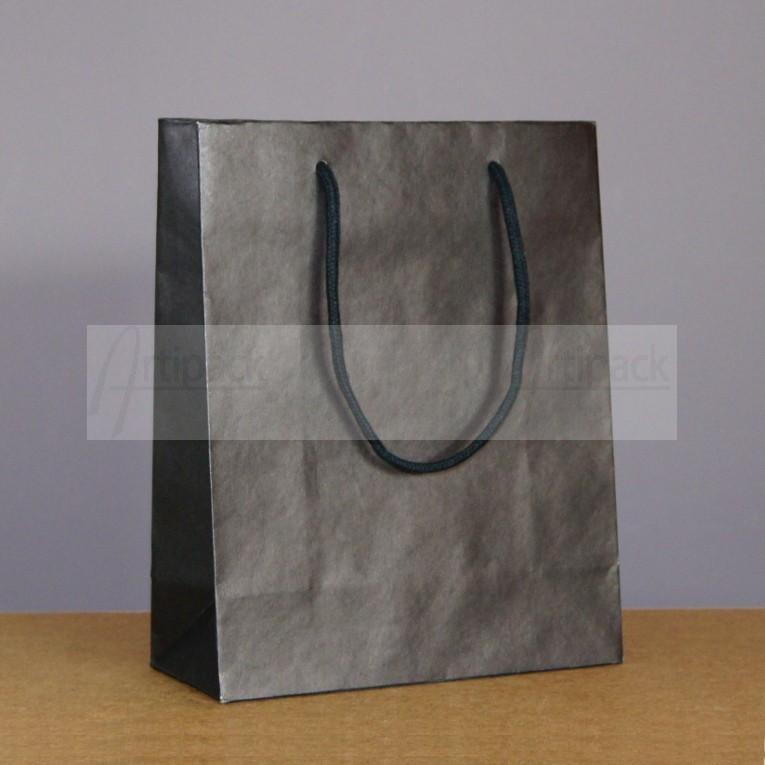 sac papier luxe en kraft noir pais avec cordelettes personnaliser. Black Bedroom Furniture Sets. Home Design Ideas