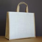 sac jute blanc et naturel 34x39x15 cm