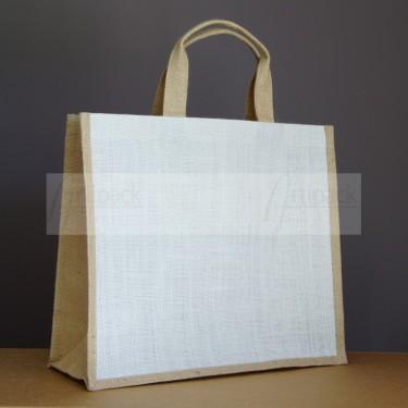 sac jute blanc et naturel personnalisable