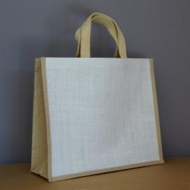 sac jute blanc et naturel 34x39x15 cm - sangles coton