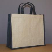 sac jute naturel / noir 34x39x15 cm