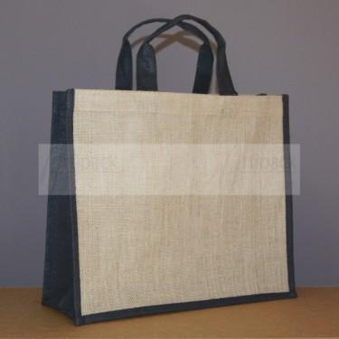 sac shopping en jute naturel et noir à personnaliser