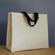 sac en jute naturel 34x39x15 cm - sangles coton noires