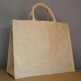 grand sac en jute 35x43x18 cm - poignées rondes beiges