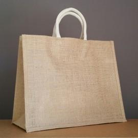 grand sac en jute 35x43x18 cm - poignées rondes écrues