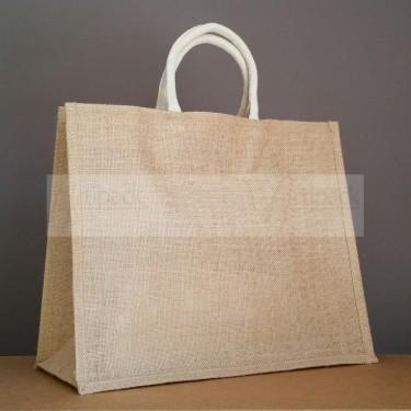 grand sac cabas en jute naturel avec poignées en coton écru