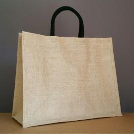 sac en jute naturel 35x43x18 cm - poignées rondes noires