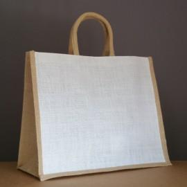sac en jute blanc / naturel 35x43x18 cm - poignées rondes beiges