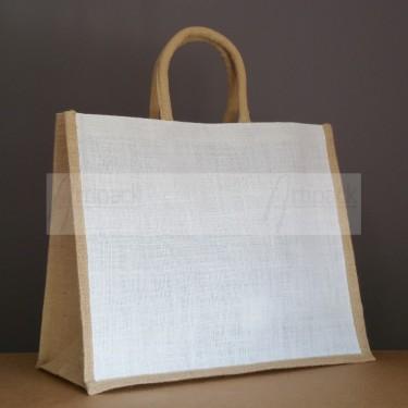 grand sac en jute publicitaire blanc et naturel