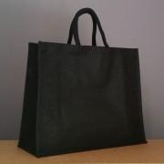 sac en jute noir 35x43x18 cm - poignées rondes noires