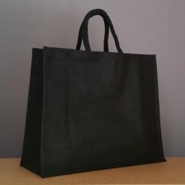 grand sac en jute noir 35x43x18 cm - poignées rondes noires