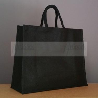 grand sac cabas en jute noir à personnaliser