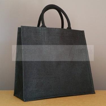 sac cabas en jute noir à personnaliser