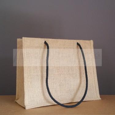 sac en toile de jute personnalisable avec cordelettes noires