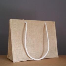 sac en jute naturel 28x36x15 cm - cordelettes écrues
