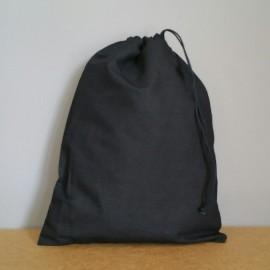 Grand pochon en coton noir 34x26 cm