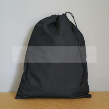Grand pochon en coton noir à personnaliser