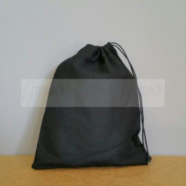 Pochon format moyen en coton noir à personnaliser
