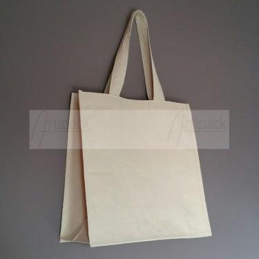 grand sac shopping en toile personnalisable avec soufflets