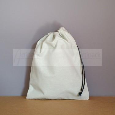 Pochon en coton gris clair format moyen
