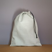 Grand pochon en coton gris 34x26 cm