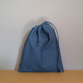 Pochon moyen en coton bleu marine 25x20 cm