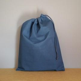 Grand pochon en coton bleu marine 34x26 cm