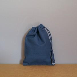 Petit pochon en coton bleu marine 16x12 cm