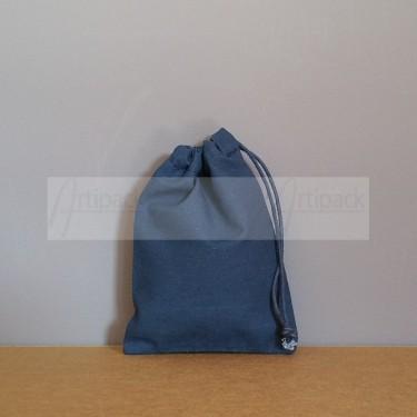 Petit pochon en coton bleu marine personnalisable