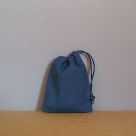 Mini pochon en coton bleu marine 12x9 cm