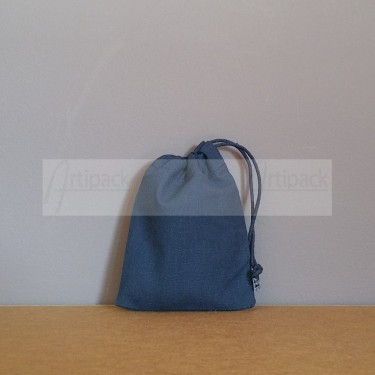 Mini pochon en coton bleu marine neutre ou à personnaliser