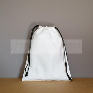 Pochon en coton blanc personnalisable format moyen