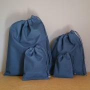 Pochons en coton bleu marine personnalisables