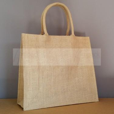 sac en toile de jute personnalisable avec poignées mi longues
