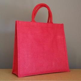 sac en jute moyen rouge 35x39x15 cm