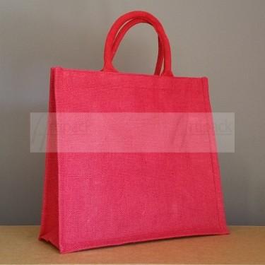 sac en toile de jute rouge à personnaliser