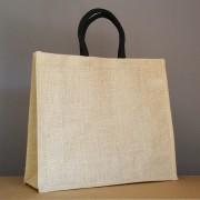 sac en jute naturel 34x39x15 cm - poignées rondes noires