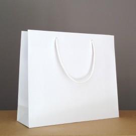 sac luxe kraft blanc 32+10x27.5 cm
