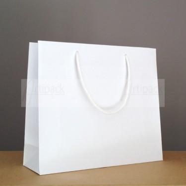 sac cadeau luxe en papier kraft blanc mat avec cordelettes