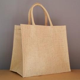grand sac en jute 33x38x24 cm - poignées rondes beiges