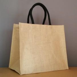 grand sac en jute 33x38x24 cm - poignées rondes noires