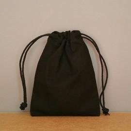 Petit pochon en coton noir 16x12 cm