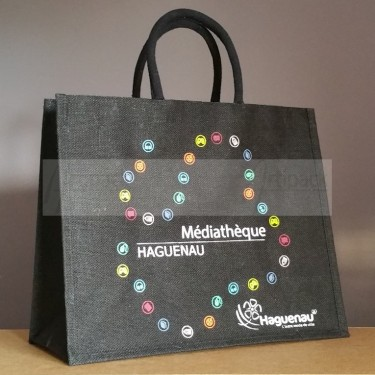 sac cabas toile de jute personnalisé pour médiathèque