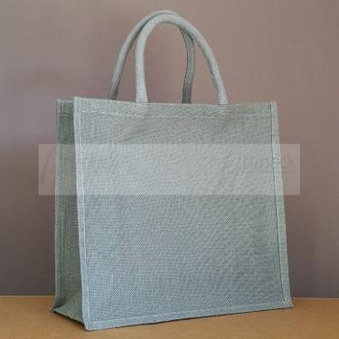 sac en toile de jute gris personnalisable