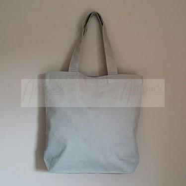 petit tote bag en coton gris avec fond personnalisable