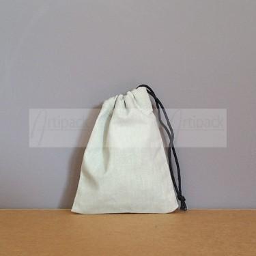 Petit pochon en coton gris clair à personnaliser