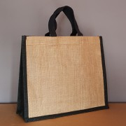 sac jute bicolore naturel / noir