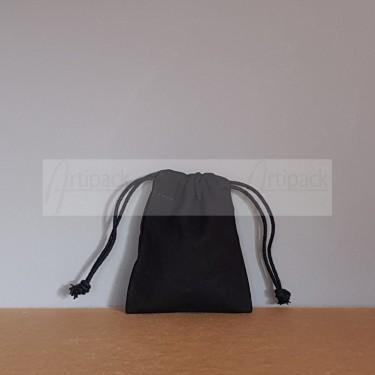 Petit pochon en tissu noir personnalisable