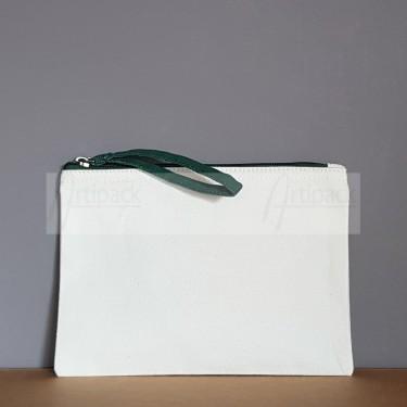 Trousse personnalisée avec zip vert foncé